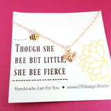 Bumblebee Charm Rose Gold Necklace - Honeybee Jewelry - Gift for Her