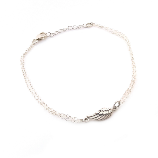 Sterling Silver Angel Wing Bracelet - Double Strand Chain Bracelet - Sterling Silver Bracelet - Memorial Bracelet - Gift for Her
