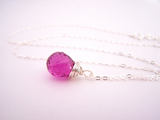 Cherry Hydro Quartz Gemstone Necklace