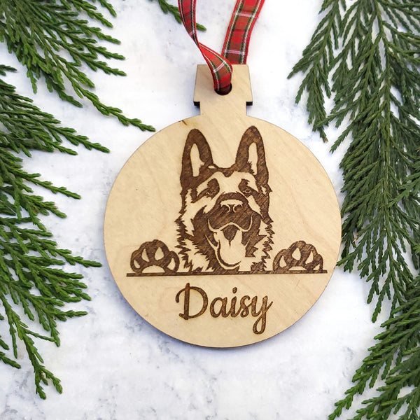 German Shepperd Personalized Name Wooden Christmas Ornament - Holiday Gift - Stocking Stuffer