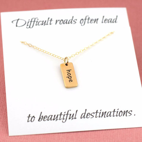 Hope Necklace - 14k Gold Fill - Simple Jewelry - Gift For Her