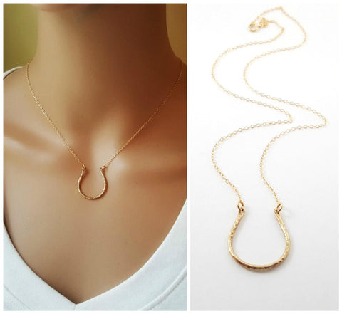 Horseshoe Charm Necklace - 14k Gold Fill Necklace - Simple Jewelry - Dainty Necklace - Gold Fill Jewelry - Lucky Necklace - Gift for Her