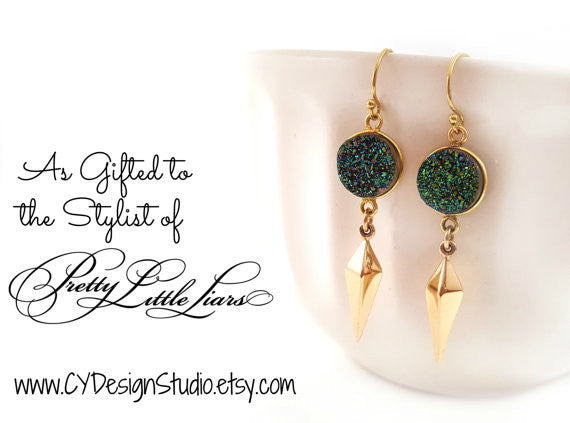 Rainbow Druzy Gemstone Gold Spike Earrings