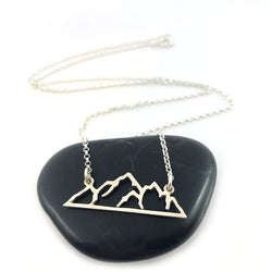 Mountain Skyline Bar 925 Sterling Silver Connector Necklace