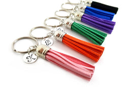 Personalized Initial Leather Tassel Key Chain