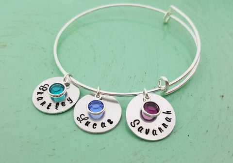 Hand Stamped Personalized Name Bracelet -   Birthstone Bracelet