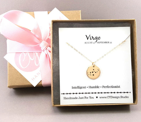 Virgo Zodiac - Constellation Necklace - Gold Fill Astrology Necklace