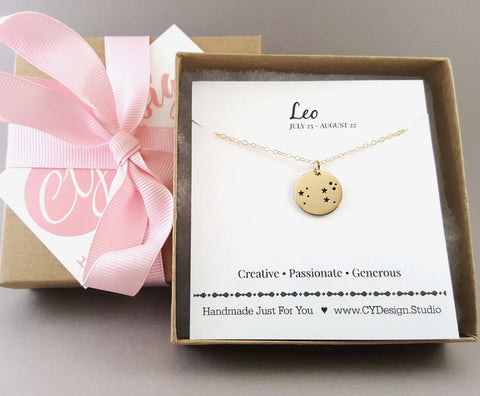 Leo Zodiac Necklace - Constellation Necklace - Gold Fill Necklace - Simple Jewelry - Astrology Necklace - Gold Jewelry - Gift for Her