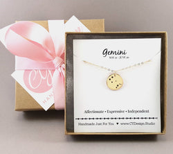 Gemini Zodiac Constellation Gold Filled Necklace