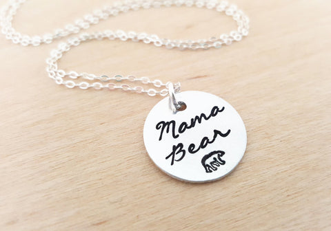 Mama Bear Sterling Silver Necklace