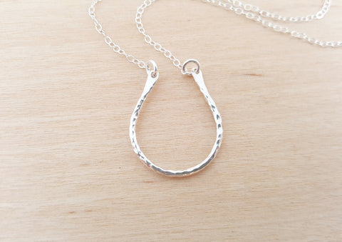 Dainty Horseshoe Charm Sterling Silver Necklace Simple Jewelry Everyday Necklace / Gift for Her / Horseshoe Necklace