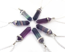 Rainbow Flourite Gemstone Crystal Pendant Necklace - Crystal Point Necklace - Sterling Silver Necklace - Simple Everyday Jewelry - Gift