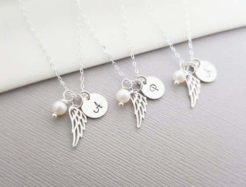 Personalized Angel Wing Sterling Silver Necklace - Memorial Necklace - Miscarriage Necklace