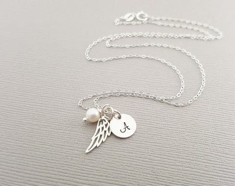 Miscarriage Sterling Personalized Wing Necklace Angel Wing Necklace Memorial Gift