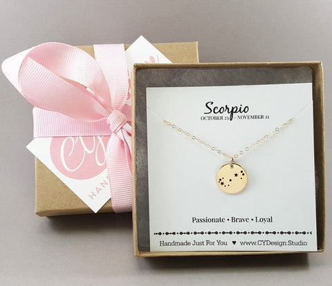 Scorpio Zodiac Necklace - Constellation Necklace - Gold Fill Necklace - Simple Jewelry - Astrology Necklace - Gold Jewelry - Gift for Her