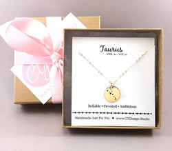 Taurus Zodiac Necklace - Constellation Necklace - Gold Fill Necklace - Simple Jewelry - Astrology Necklace - Gold Jewelry - Gift for Her
