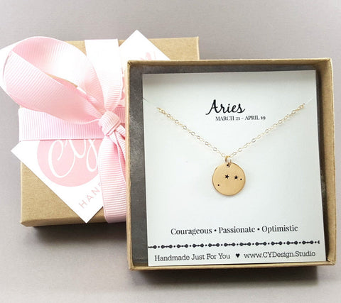 Aries Zodiac 14k Gold Filled Necklace