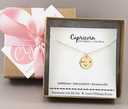 Capricorn Zodiac Necklace - Constellation Necklace - Gold Fill Necklace - Simple Jewelry - Astrology Necklace - Gold Jewelry - Gift for Her