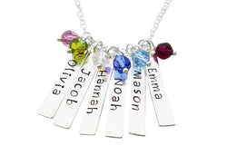 Family Names - Hand Stamped Name Bar Personalized Sterling Silver Necklace