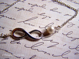 Infinity Sterling Silver and Genuine Freshwater Pearl Infinite Love Necklace / Gift for Her