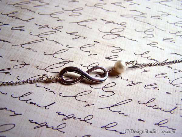 Silver Infinity and Genuine Freshwater Pearl Infinite Love Sterling Silver Bracelet / Gift for Her / Bridesmaids Bracelet