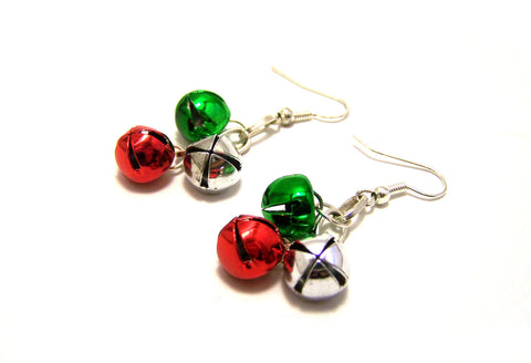 On Sale - Festive Jingle Bell Holiday Sterling Silver Earrings / Christmas Earrings / Jingle all the way / Gift for Her / Stocking Stuffer