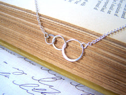 Triple Circle Sterling Silver Eternal Love Necklace / Gift for Her
