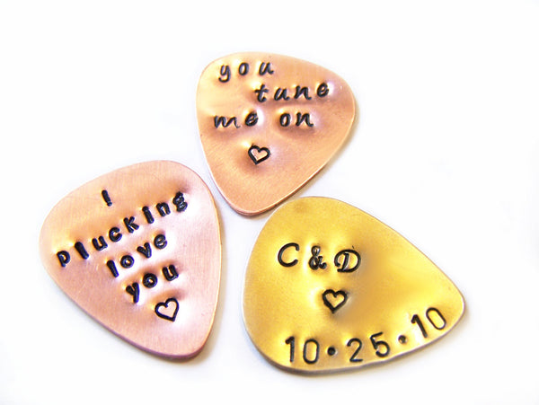 Set of 3 Custom Hand Stamped Brass or Copper Guitar Pick / Gift for Him