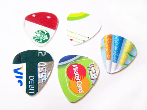 Upcycled Credit Card Guitar Pick Pack of 10 Recycled / Gift