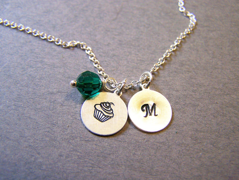 Monogrammed Sterling Silver Initial Swarovski Crystal Birthstone Birthday Cupcake Necklace / Gift for Her