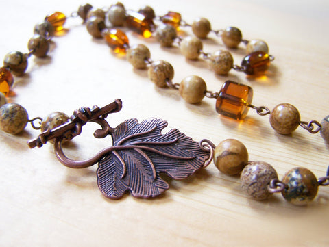 Natural Jasper Stone Amber Glass Copper Beaded Necklace / Gift for Her