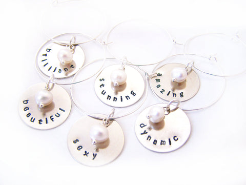 Set of 6 Silver Hand Stamped Freshwater Pearl Wine Charms / Champagne Charms