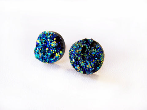 Sparkling Blue Faux Druzy Stud Post Earrings / Gift for Her