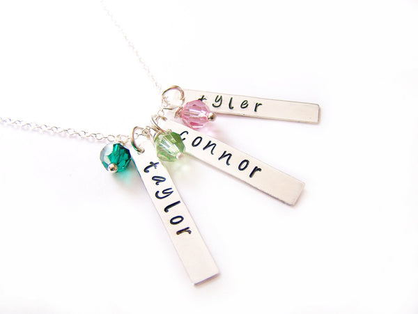 Personalized Three Names Hand Stamped Bar Swarovski Birthstone Necklace