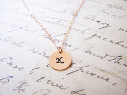 Handstamped Initial Disc Monogrammed 14k Rose Gold Filled Personalized Necklace
