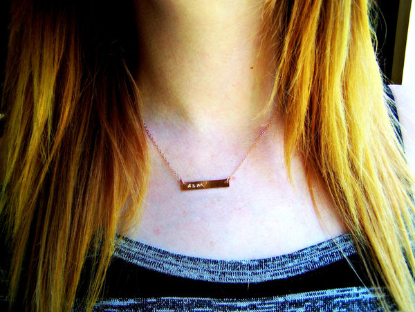 Rose Gold Bar Necklace - Hand Stamped Personalized Jewelry