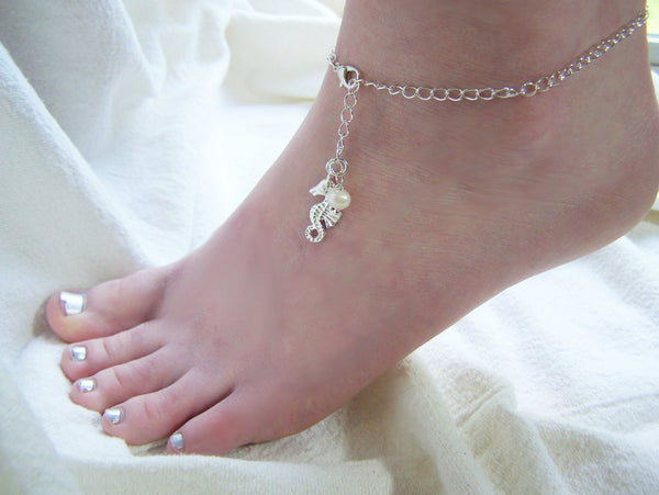 Silver Seahorse Freshwater Pearl Beaded Chain Nautical Adjustable Anklet / Gift for Her