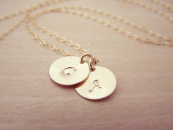 Hand Stamped Initial Disc 14k Gold Filled Personalized Monogram Necklace