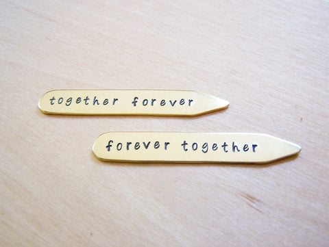 Together Forever Custom Message Hand Stamped Brass Monogrammed Collar Stays / Gift for Him