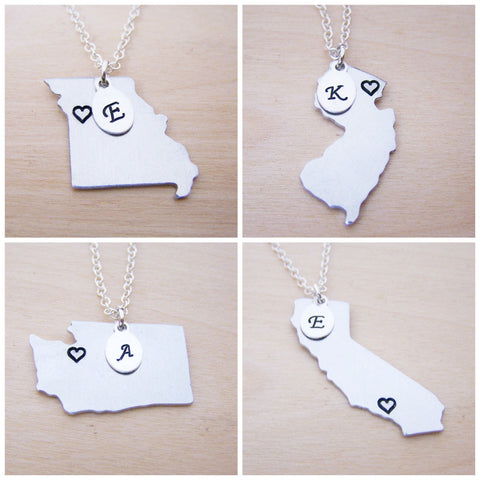 Hand Stamped Heart Initial Home State Sterling Silver Necklace - All 50 States Available