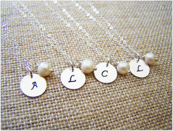 Dainty Sterling Silver Stamped Initial Monogrammed Freshwater Pearl Bridesmaid Necklace