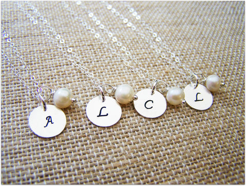Monogrammed Freshwater Pearl Bridesmaid Necklace
