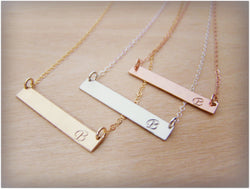 Hand-stamped Initial Name Gold Filled, Rose Gold Filled or Sterling Silver Bar Minimalist Necklace / Gift for Her