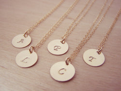 Gold Filled Initial Disc Hand Stamped Necklace