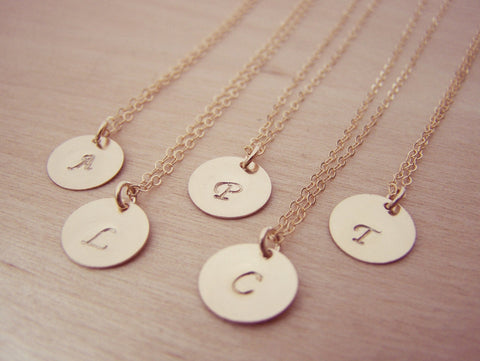 Gold Filled Initial Disc Hand Stamped Personalized Monogram Bridesmaid Necklace / Gift for Her