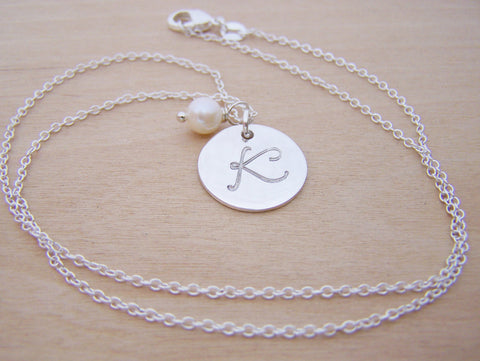 Sterling Silver Script Hand Stamped Initial Freshwater Pearl Personalized Necklace