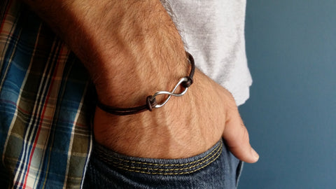 Mens Silver Infinity Brown Leather Bracelet  / Gift for Him