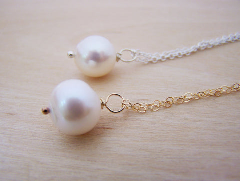 Large Single White Freshwater Pearl Dainty Sterling Silver or Gold Filled Necklace