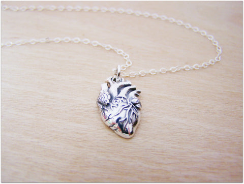 Anatomical Heart Necklace - Real Heart Charm Sterling Silver Jewelry - Biology Necklace - Silver Heart Neacklace - Gift for Her