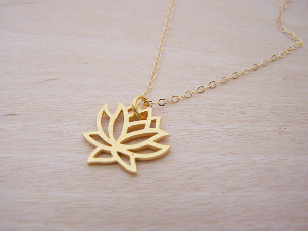 Yoga Lotus Flower 14k Gold Filled Dainty Necklace